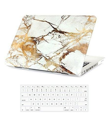 """Folio Cases for MacBook Pro 13"""" (With CD ROM) Marble White Gold Snap On Plastic Cover & Keyboard Skin for MacBook Pro 13 Inch (with CD ROM) Model A1278"""