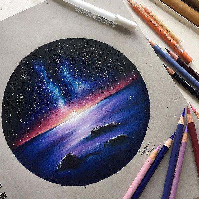 Galaxy sunset drawing