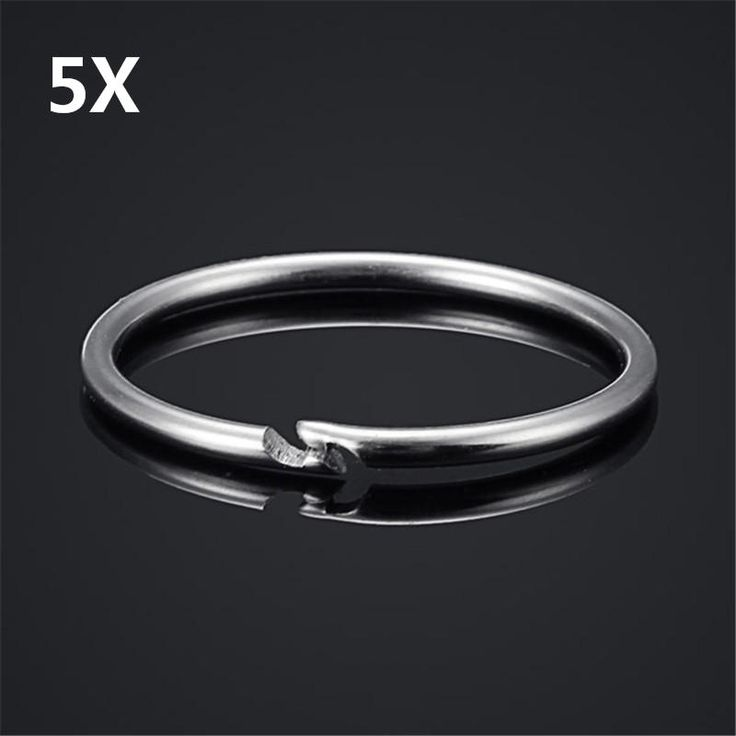 5Pcs 35mm EDC Stainless Steel Keychain Key Ring Hanging Buckle Tool