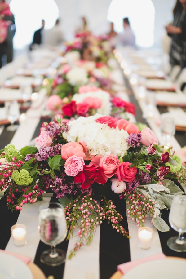 Kate Spade inspired reception, photo by Kristen Soileau Portraits http://ruffledblog.com/pagosa-springs-wedding #weddingreception #tablescape #centerpieces