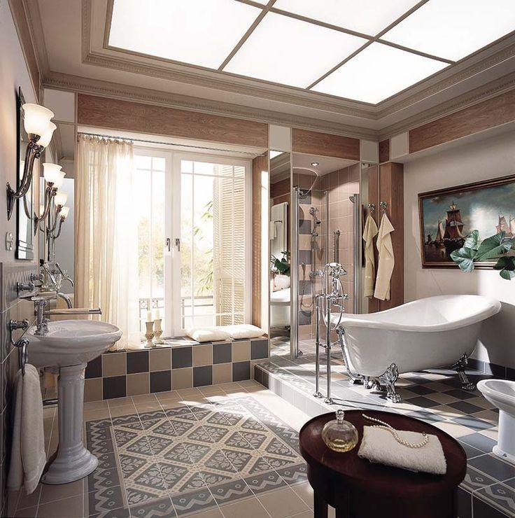 Дизайн ванной комнаты с использованием керамической плитки.