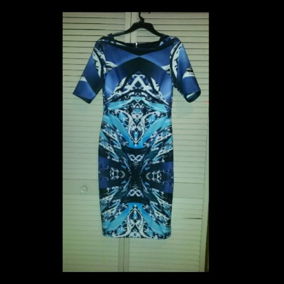 Abstracted long tight dress Artful dress very artistic worn once one of my favorote dress and material very soft spandex krushgirlz Dresses Long Sleeve