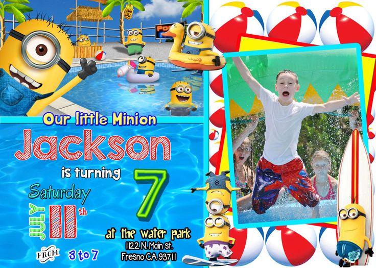 Minion Pool Party Birthday Invitation Invite Minions | Invitations by Robin Dennis | Pinterest ...