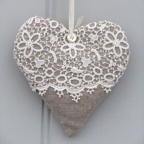 Lace and sack cloth heart