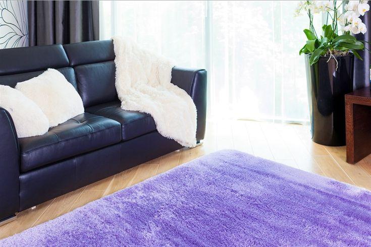 Gładkie pluszowe dywany fioletowe