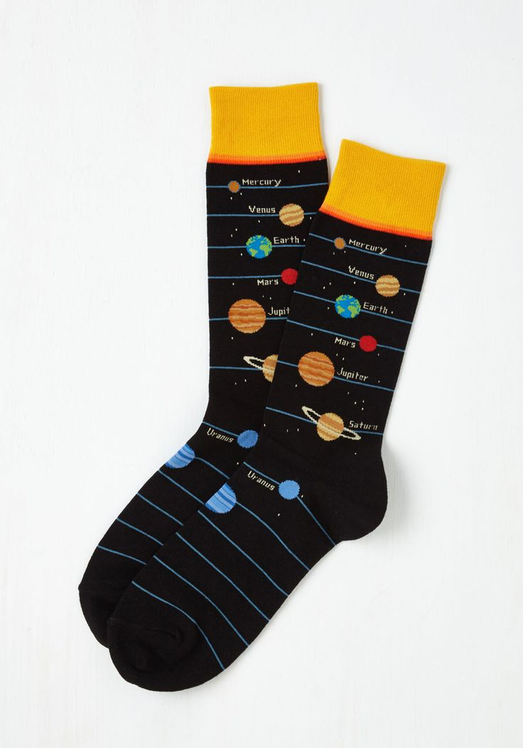 Solar Power to Ya Men's Socks. When your favorite guy needs to pick up the space in the morning, give him these cosmic socks! #black #modcloth