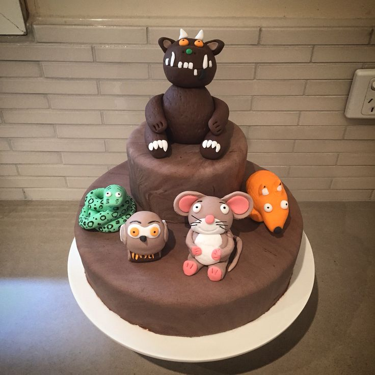 Gruffalo cake for my son's 4th birthday. Chocolate mud cake filled with buttercream and iced with fondant.