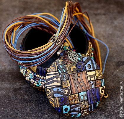 кулон и браслет мотивы этно полимерная глина - бирюзовый,синий,коричневый