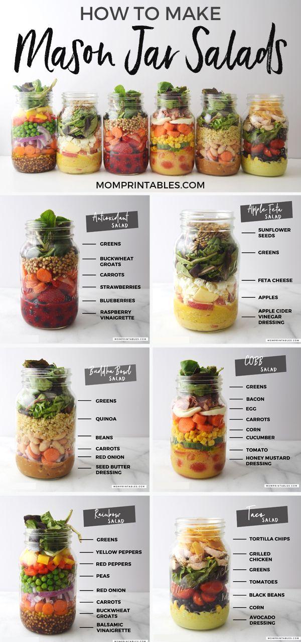 6 Einmachglas-Salat-Rezepte, die Sie für ein einfaches, gesundes Mittagessen kennen sollten – Mom Print …   – Recipes