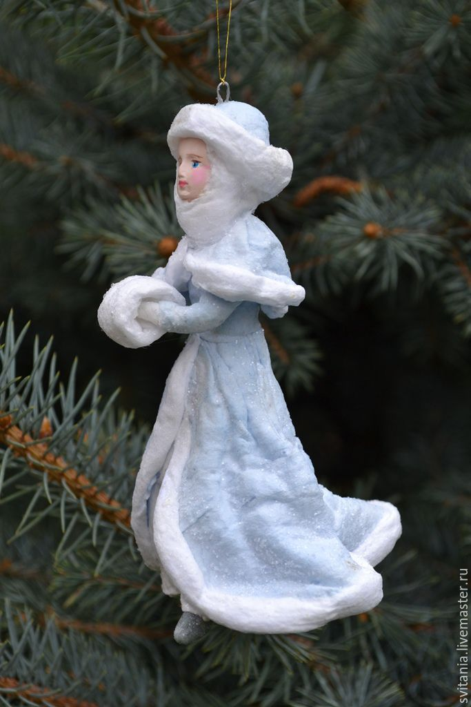 Купить Ватная елочная игрушка Снегурочка - ватная игрушка, ватное папье-маше, елочные украшения