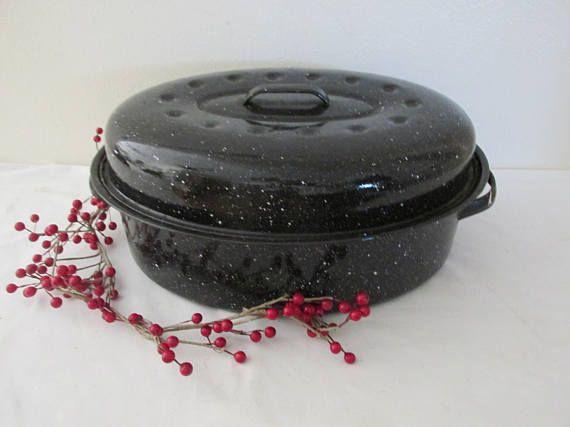Roaster Enamel Roaster Oval Ham Roasting Graniteware Pan