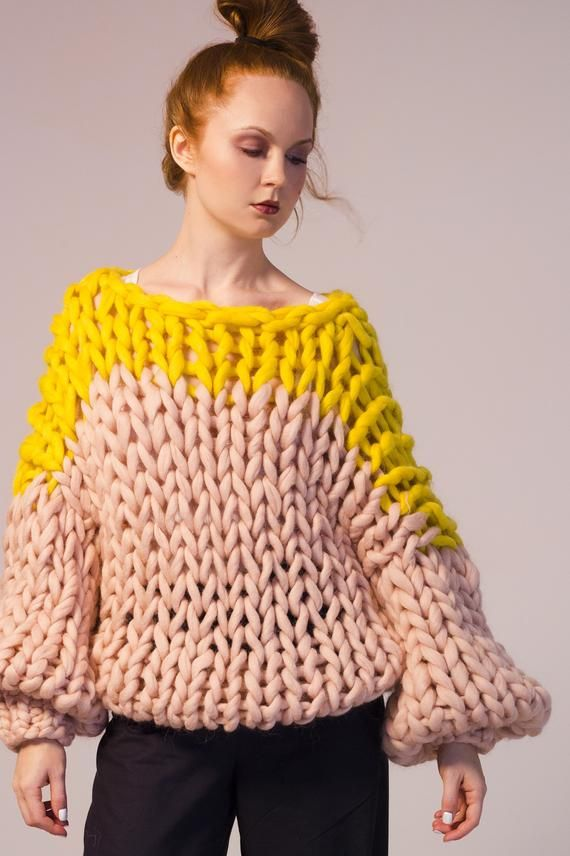 Bulky yarn knit Chunky sweater Her Giant knitting Big knitted turtleneck sweater thick wool oversized sweater Knit sweater Chunky knit