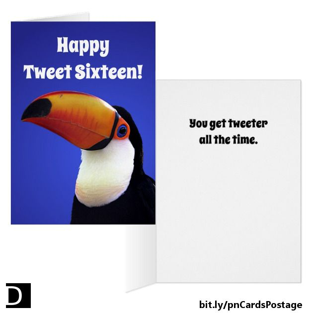 """Looking for a birthday greeting that's a little different? This sweet birthday card features a colorful Toco Toucan against a blue gradient background. The front says """"Happy Tweet Sixteen!"""". The inside says """"You get tweeter all the time."""" All of the text is customizable. Gift tags with a similar image are also available. #StudioDalio #Custom #bespoke #birthdays #birthdaycard #sweetsixteen #puns #punny #punnycard #animal #bird #animalart #animallovers #portrait"""