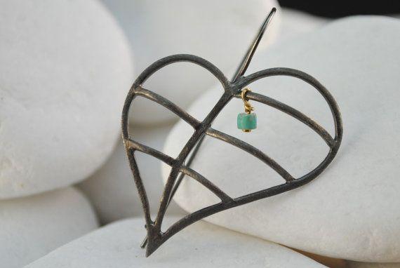 Heart Dangle Earrings by A. LeONDARAKIS