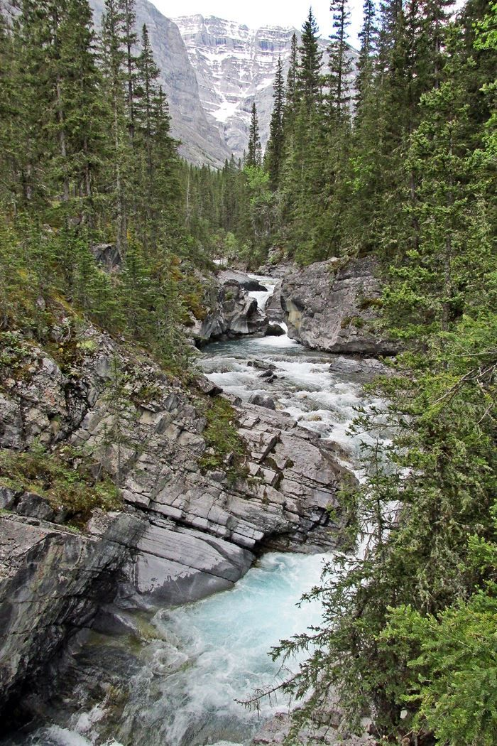Ribbon Falls is a long, easy, flood-modified and spectacular hike in Kananaskis Country west of Calgary, Alberta, Canada.