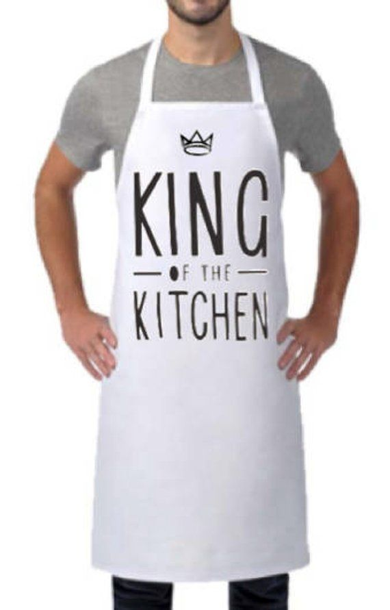 ea4f1c69 KING of the KITCHEN Text APRON, Personalized Apron, Birthday Gift for Him,  Dad Gift, Mens and Womens Apron, Funny Gift, Housewarming