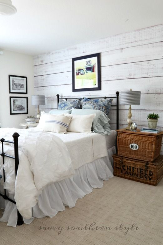 Savvy Southern Style: DIY Planked Wall Reveal: Is it real or is it faux?  Well, do I have a surprise for you. It isn't wood planks! Nope, it's removable, reusable, self adhesive custom canvas wallpaper from Limitless Walls.