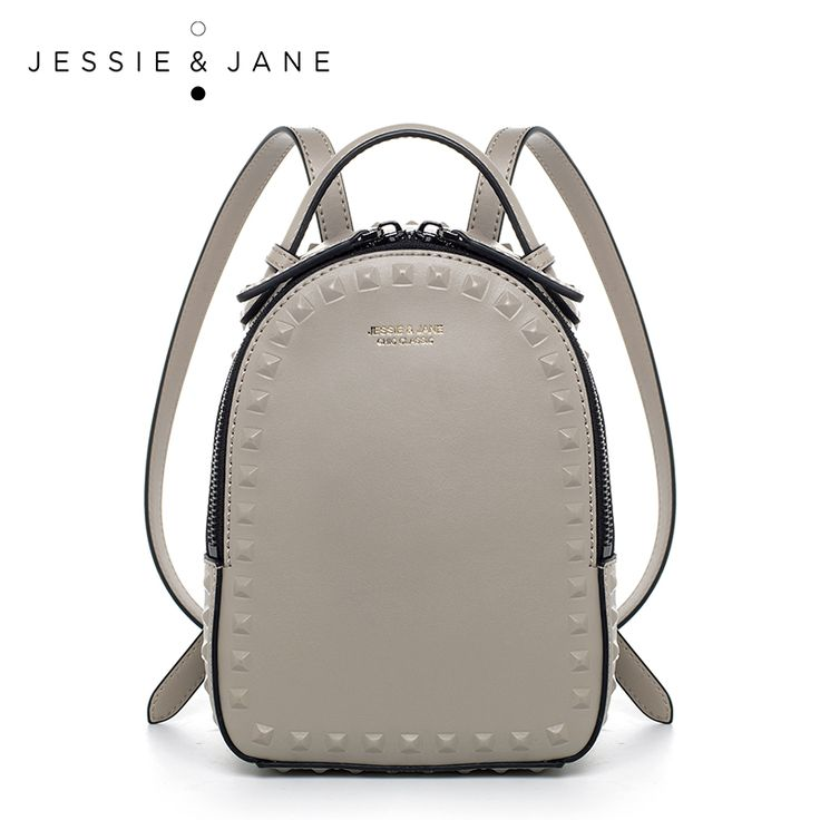 JESSIE & JANE của Phụ Nữ Thời Trang Đinh Tán Design Da Chia Backpack Nữ Casual Daypacks 1825