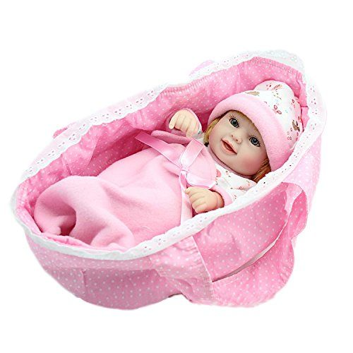 NPKDOLL Reborn Bambino Bambola Duro Silicone Vinile 11 Pollici 28 Centimetri Impermeabile Giocattolo Regalo Della Ragazza Bianco Rosa Sleeping Carrello Bambolina Doll A1IT