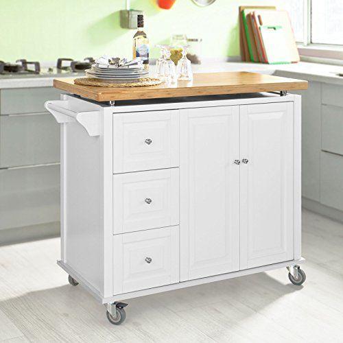 SoBuy® Neu Luxus-Küchenwagen, Arbeitsplatte aus hochwertigem Bambus,Kücheninsel,Küchenschrank,Servierwagen, Rollwagen, FKW30-WN