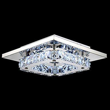 LED Crystal Flush Mount, 1 Light, Modern Transparent Electroplating Stainless Steel – USD $ 47.99