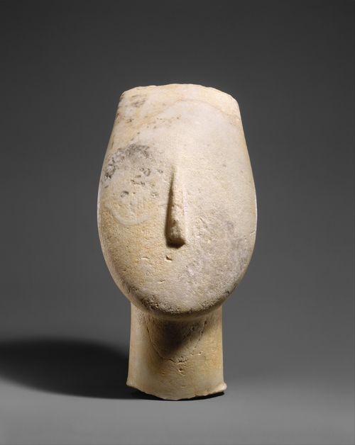 Marble head from the figure of a woman Period: Early Cycladic II Date: 2700–2500 B.C..