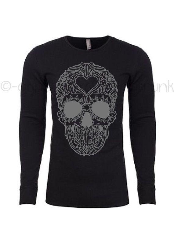 Sugar Skull Shirt - Skull Thermal - Sugar Skull Shirt - Day of the Dead Top - Skull Shirt - Skull Top - Day of the Dead Top - BRAND NEW by GypsyJunkClothing