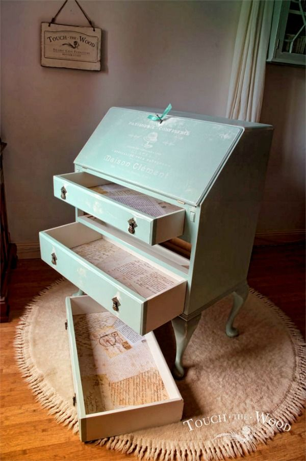 DIY Shabby Chic Bureau Makeover! Using chalk paint and vintage graphics, she transformed this bureau into a shabby chic beautiful piece of furniture.