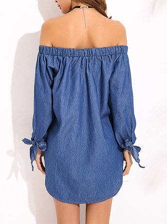 Sexy Off Shoulder Bow Long Sleeve Mini Shirt Dress at Banggood