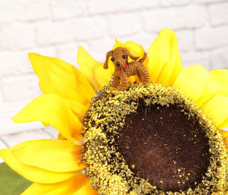 Купить Миниатюрная собачка амигуруми. - коричневый, амигуруми, вязаная игрушка, миниатюрная игрушка, собака игрушка