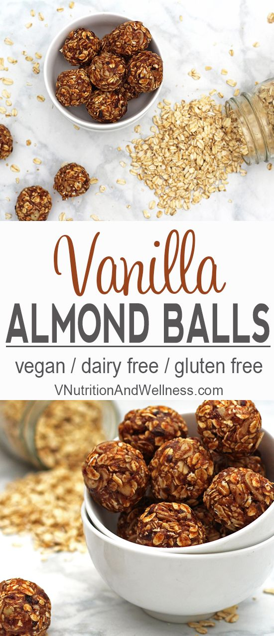 Vanilla Almond Balls | These Vanilla Almond Balls are a perfect snack for those mid-day cravings.  Although they're delicious, they contain no added sugar - only dates - so they're much healthier than most store-bought bars! | Check out the recipe or Pin for later! via @VNutritionist