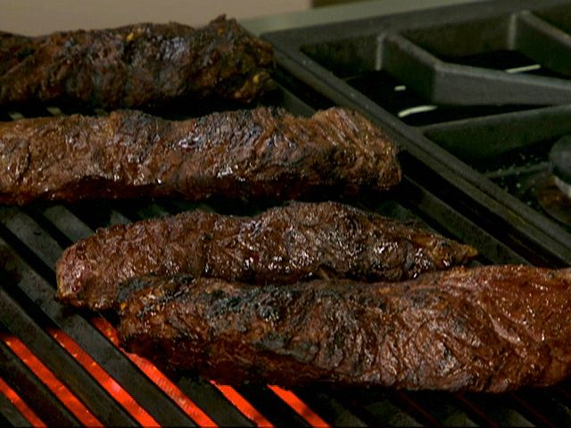 ... steak tequila marinated hanger steak on a bed of grilled peppers and