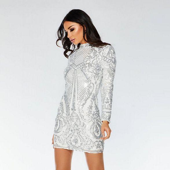 silver sequin bodycon dress