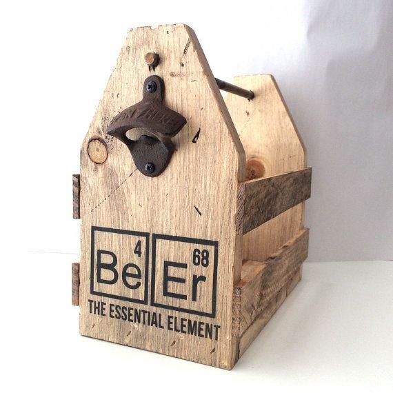 Beer holder wood beer holder bottle opener six by FreestyleMom