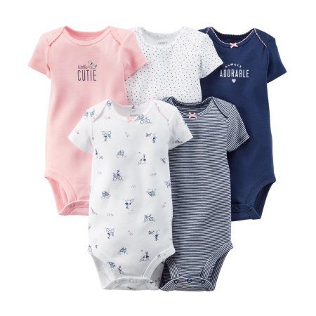 Buy Carters Baby Girls 5-Pack Short-Sleeve Bodysuits at Walmart.com
