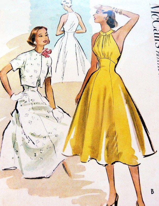 1950s Dress Pattern McCalls 8899 Glamorous COCKTAIL PARTY Halter Dress Bolero Jacket Rockabilly Style Day or Evening Bust 32 Vintage Sewing Pattern