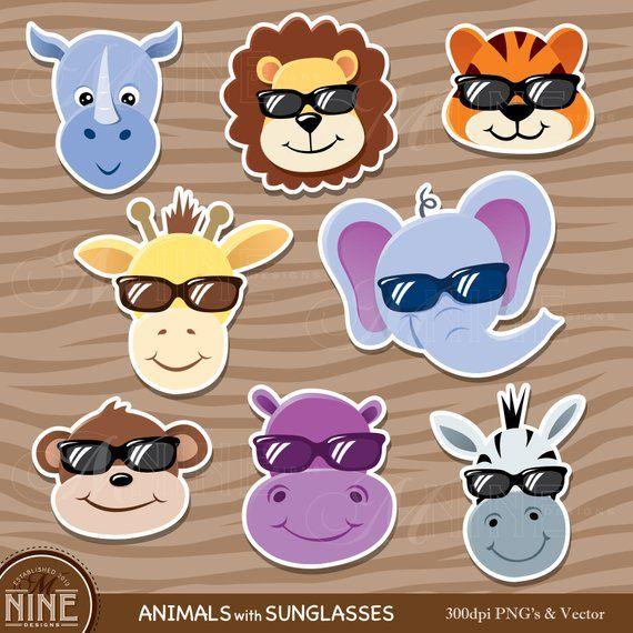 Animal Sticker Clip Art Zoo Animals With Sunglasses Clipart Etsy Animal Stickers Animal Clipart Zoo Animals