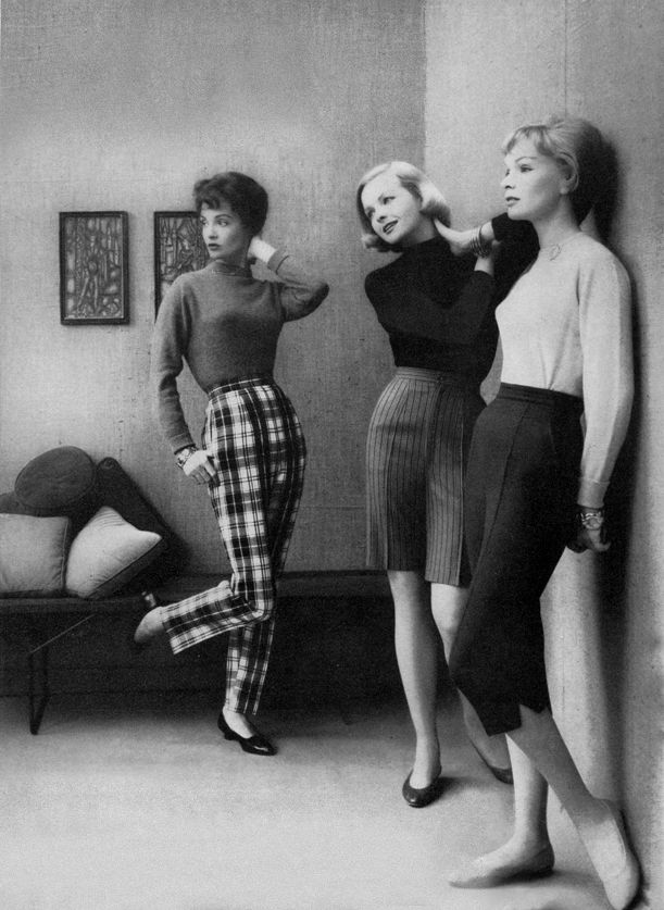 Super cute 1958 outfits. Love Capri and cigarette pants!