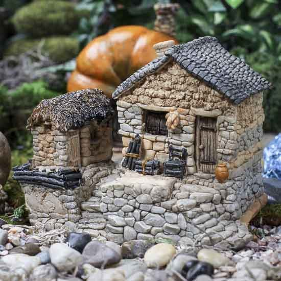 "Fairy Garden Stone Cottage with Tool Shed $20.99 4.4"" high"