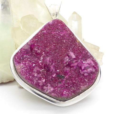 Cobaltoan Calcite Cluster Pendant   925 Sterling Silver   Compassionate Healing Heart   Crystal Heart - Australian alternative Megastore since 1986