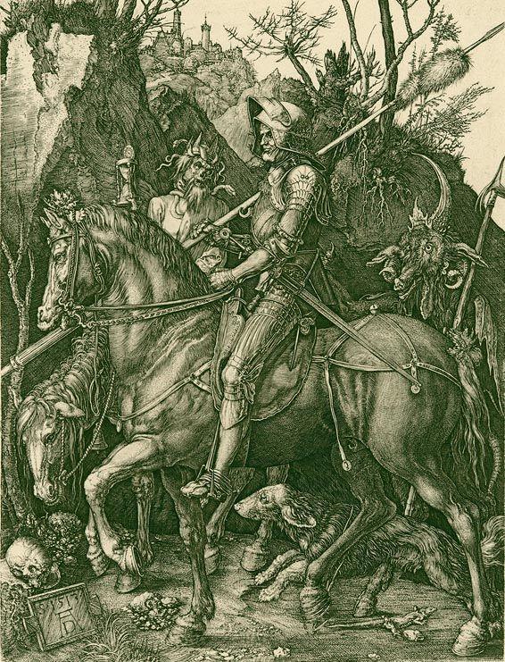 """""""Ritter, Tod und Teufel"""", Kupferstich von Albrecht Dürer"""
