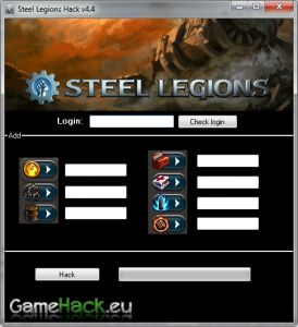 "Hello! Today, 09-09-2012, and I want you to meet the latest hack for the popular game ""Steel Legions"". The program can add:  - Gold Coins  - Constructions Parts  - Oil  - Repair Kits  - Medic Packs  - Nitro Ammo  - Neon Ammo    As you can see, it adds the most important things in the game. Hack today works fine just watch the video and find out about this. GameHack.eu Group.  http://gamehack.eu/2012/steel-legions-hack-v4-4/"