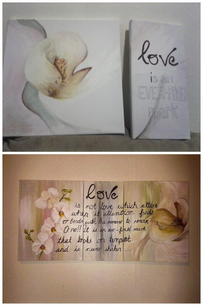 My first HOME painting   Orchid Collage with a part of Sonnet 116 painted on.