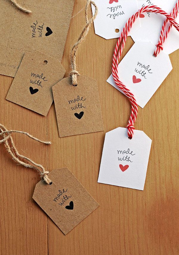 "Imprimibles de etiquetas ""Made with <3"" >> Free Made With Love Gift Tags"