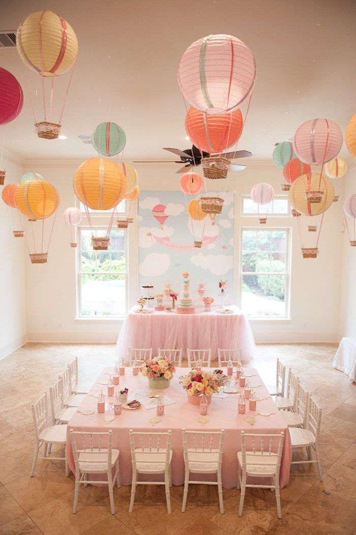"Create one stunning eye-catching display by hanging paper lantern hot air balloons from the ceiling. This is a great idea for an ""Up In The Air"" baby shower or birthday party!"