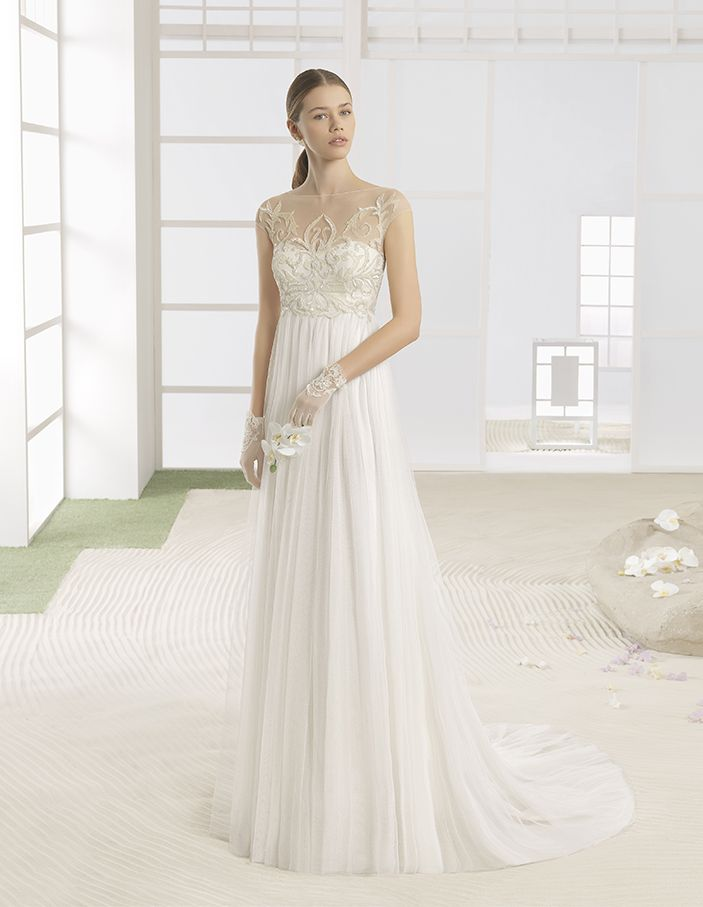 Whitney - Lightweight dress with beaded embroidered bodice and soft tulle skirt, in natural.