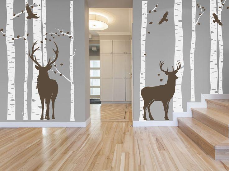 Wandtattoo Wald mit Hirschen - individuell angeordnet