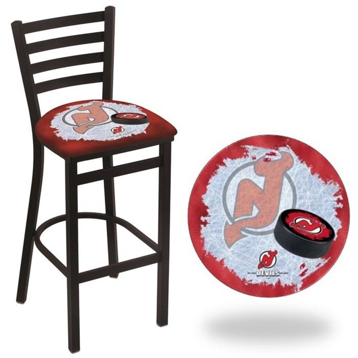 New Jersey Devils NHL D2 Stationary Ladder Back Bar Stool. Available in 25-inch and 30-inch seat heights. Visit SportsFansPlus.com for details.