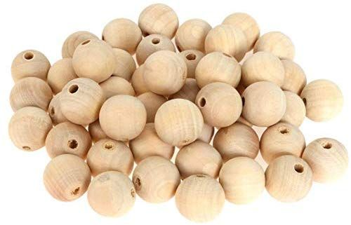 Natural Round Wood Spacer Bead Unpainted Wooden Ball Beads DIY Craft Jewelry