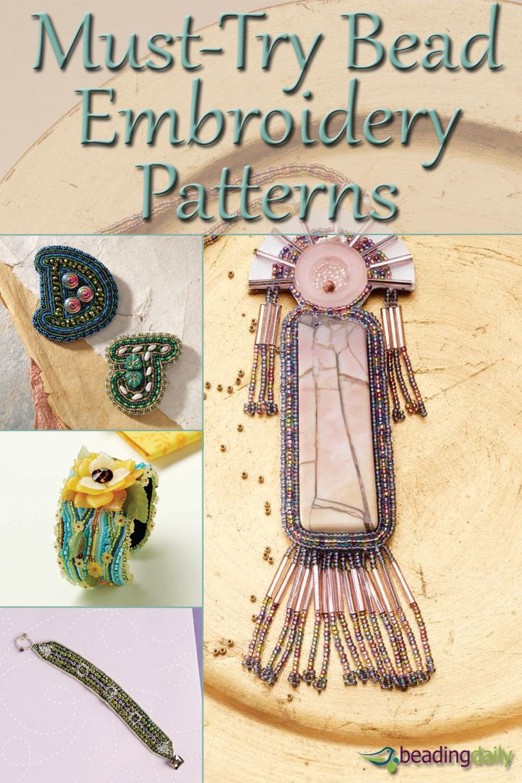 These FREE bead embroidery patterns result in beautiful, beaded designs that you won't find with other beadweaving techniques. #beading #embroidery #DIY